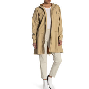 Rains Hooded Waterproof Jacket Coat in Desert SZ L